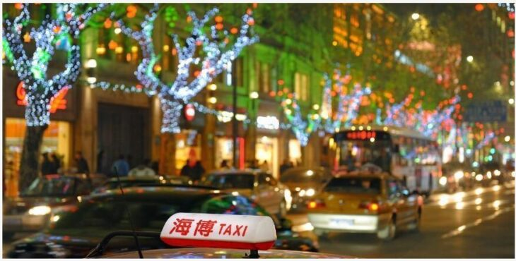 shopping malls and Christmas lights in China